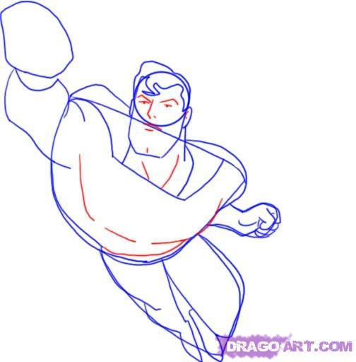 Учимся рисовать Супермена - шаг 7