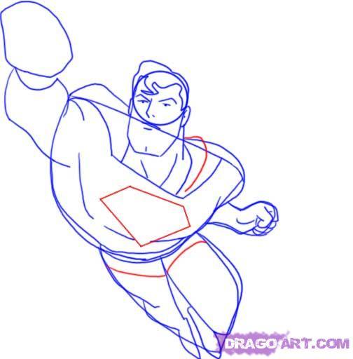 Учимся рисовать Супермена - шаг 8