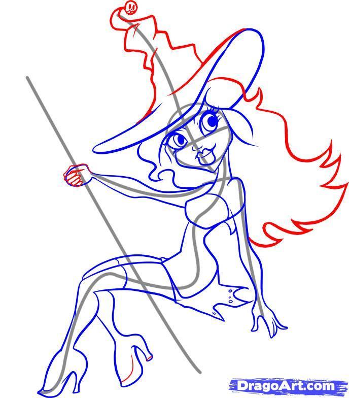 Рисуем ведьму на хэллоуин - шаг 5