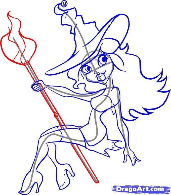 Рисуем ведьму на хэллоуин - шаг 6