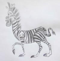 Фото зебру Марти из Мадагаскара карандашом
