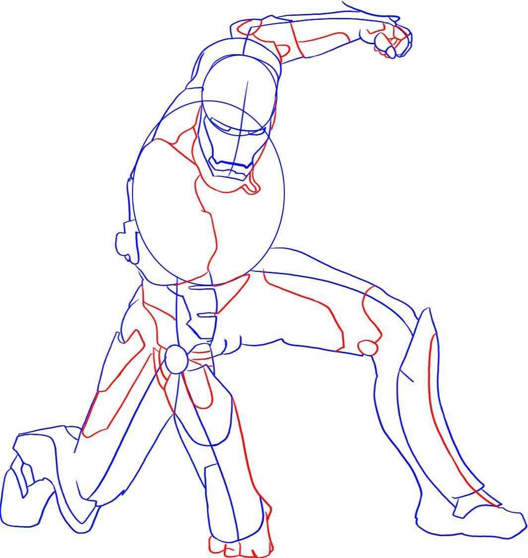 Рисуем лего железного человека - шаг 4