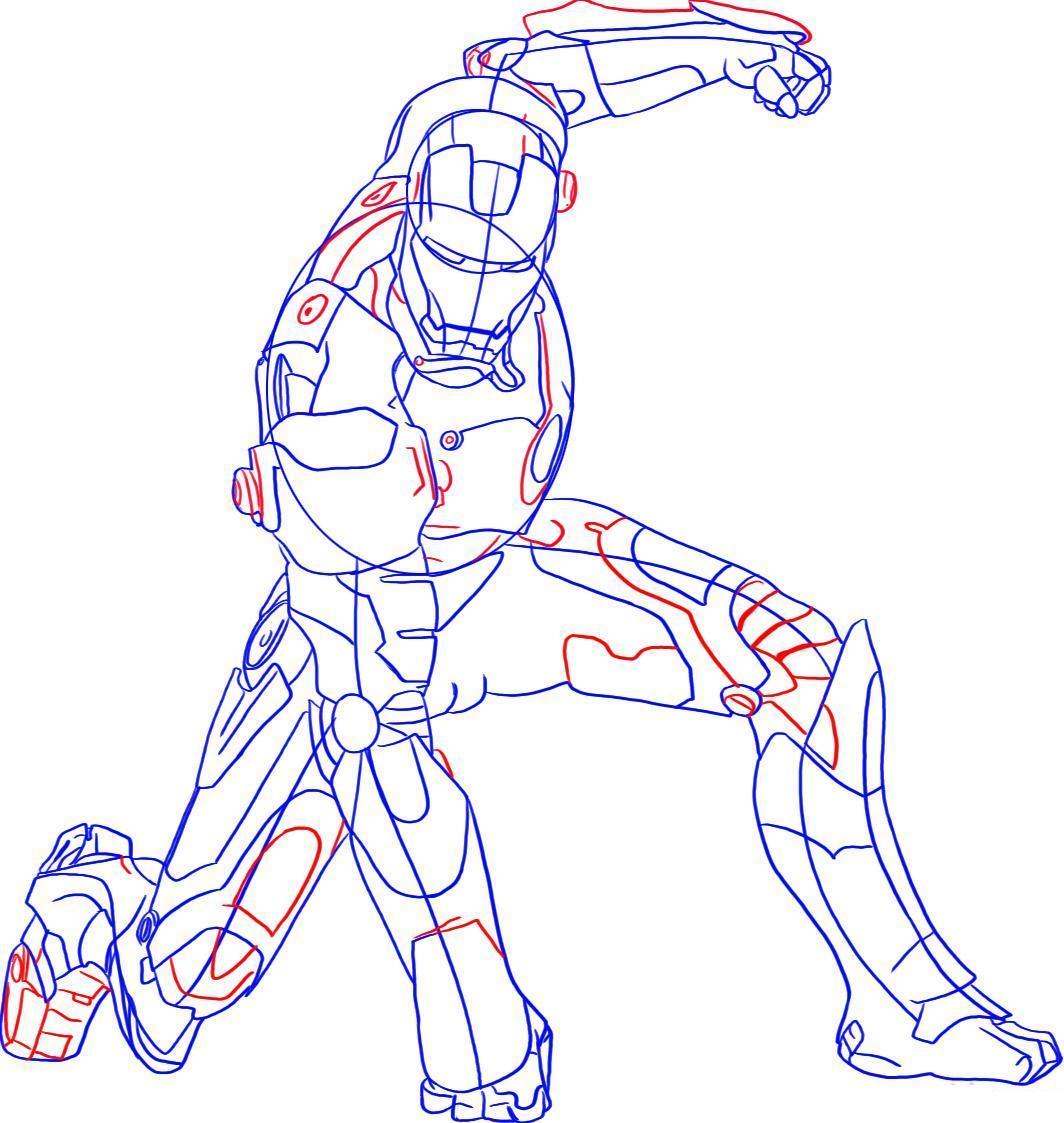 Рисуем лего железного человека - шаг 6