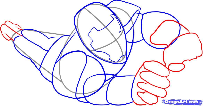 Рисуем Железного Человека в полете - шаг 4