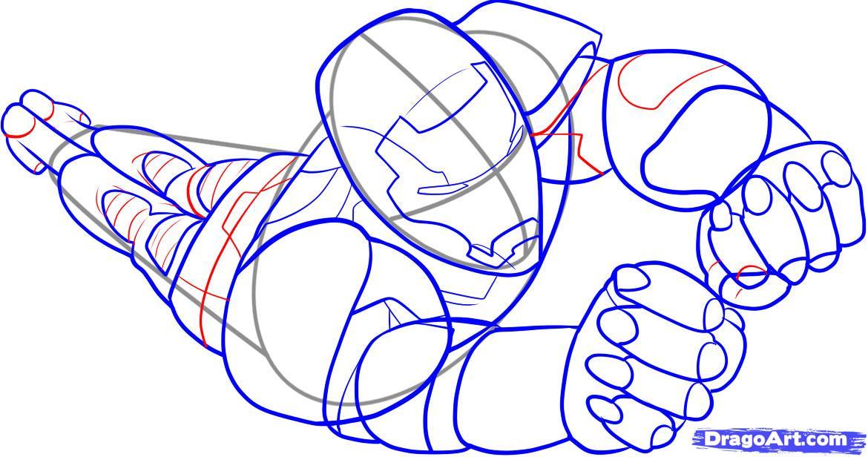 Рисуем Железного Человека в полете - шаг 6