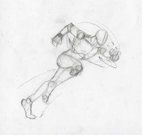 Рисуем человека паука в беге - шаг 2