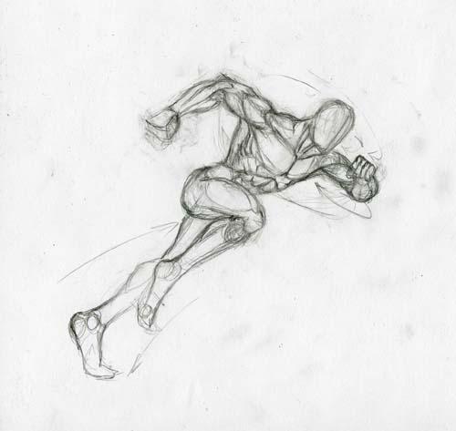 Рисуем человека паука в беге - шаг 3