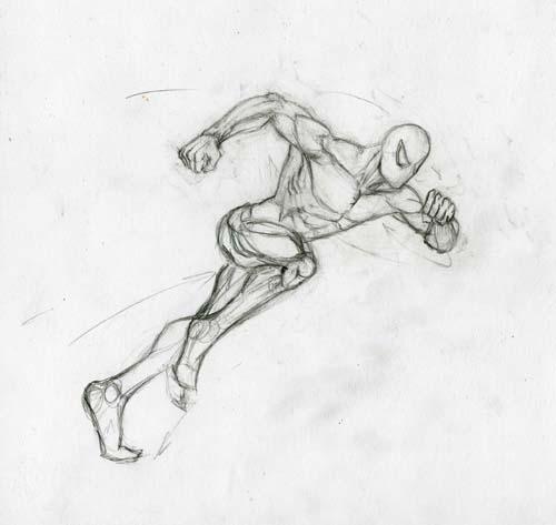 Рисуем человека паука в беге - шаг 4