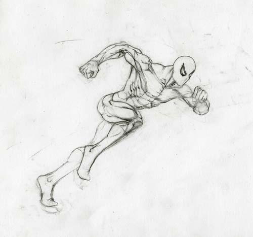 Рисуем человека паука в беге - шаг 6