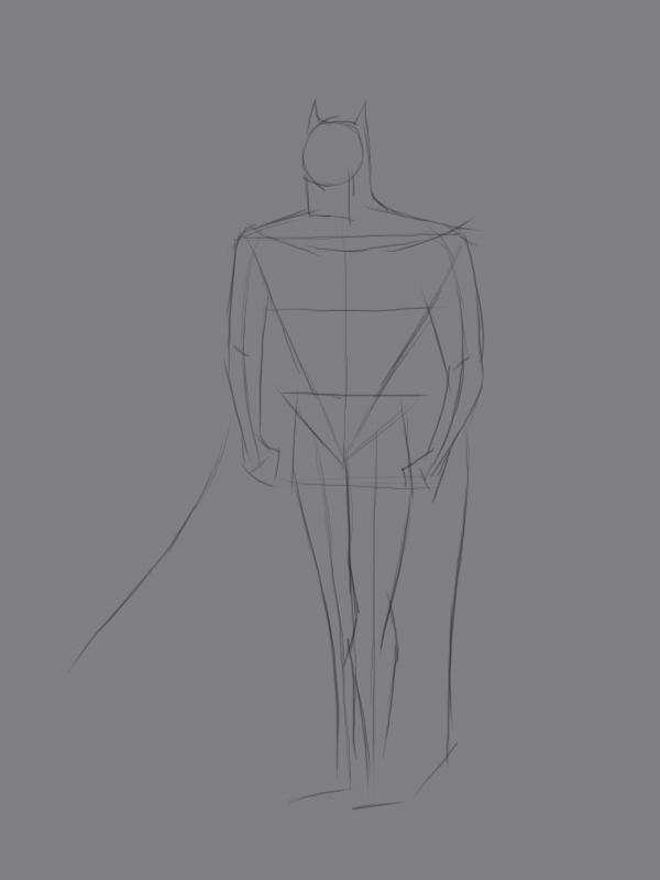 Учиться рисовать Бэтмена - шаг 2