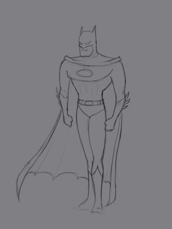 Учиться рисовать Бэтмена - шаг 4