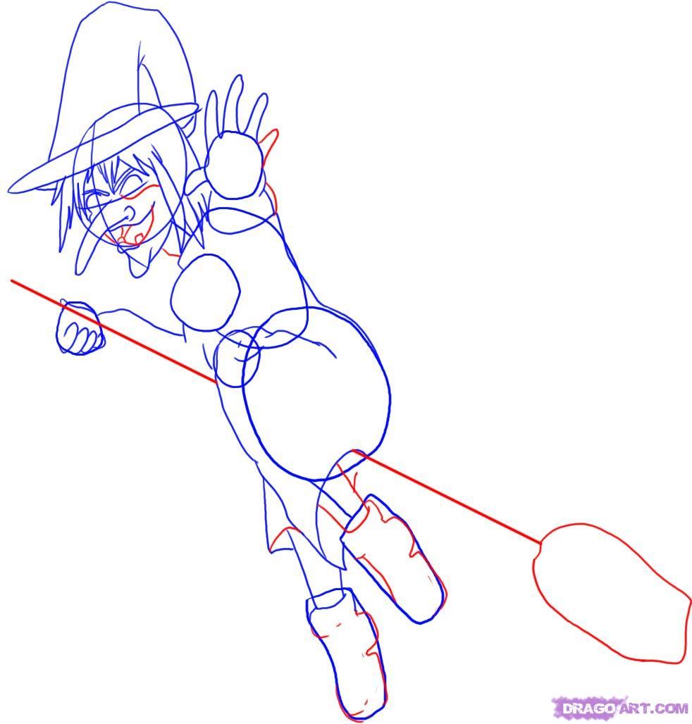 Рисуем ведьму на метле - шаг 4