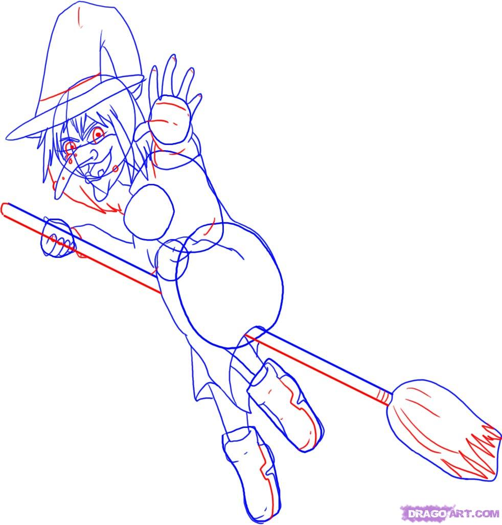 Рисуем ведьму на метле - шаг 5