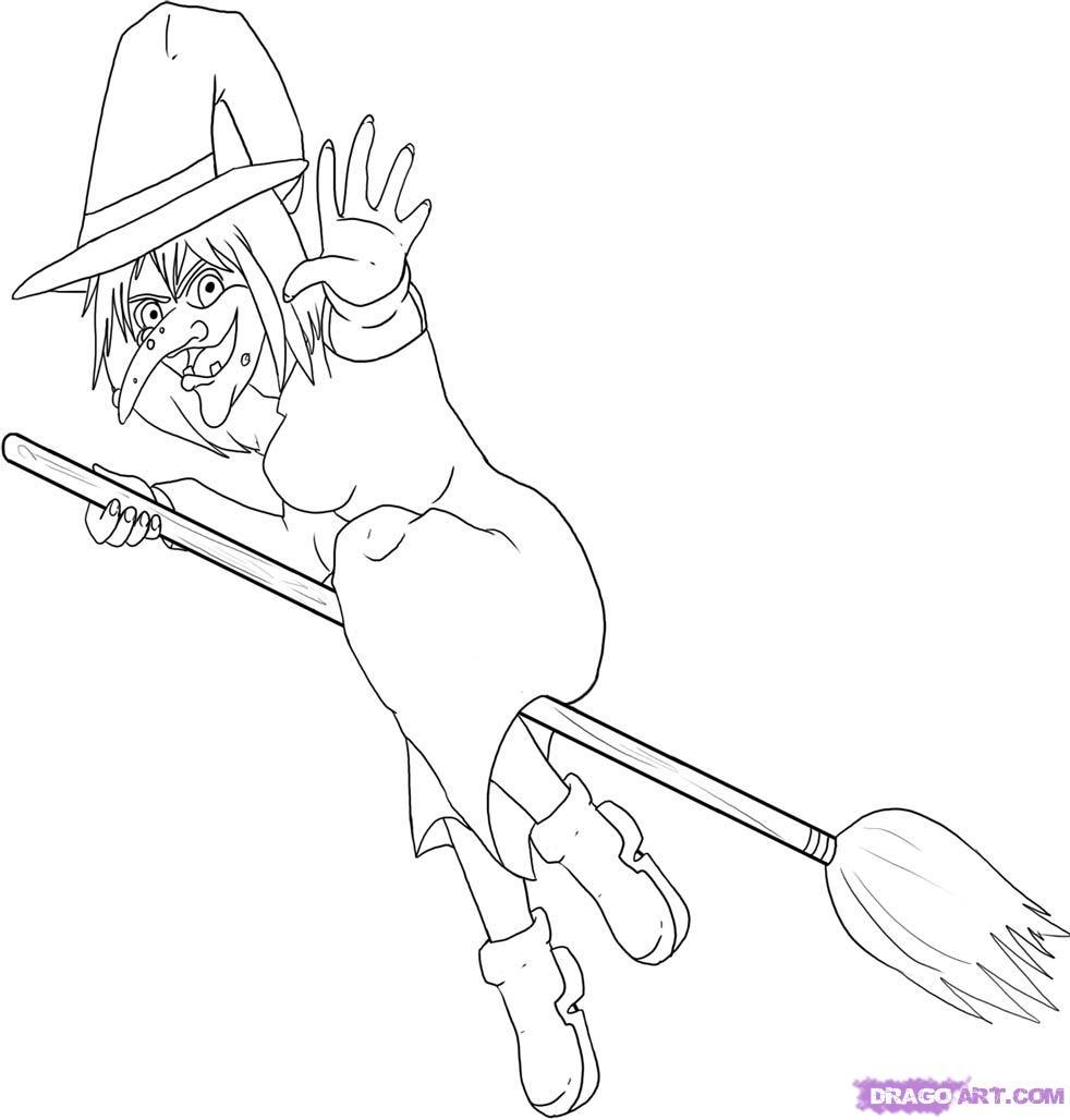 Рисуем ведьму на метле - шаг 6