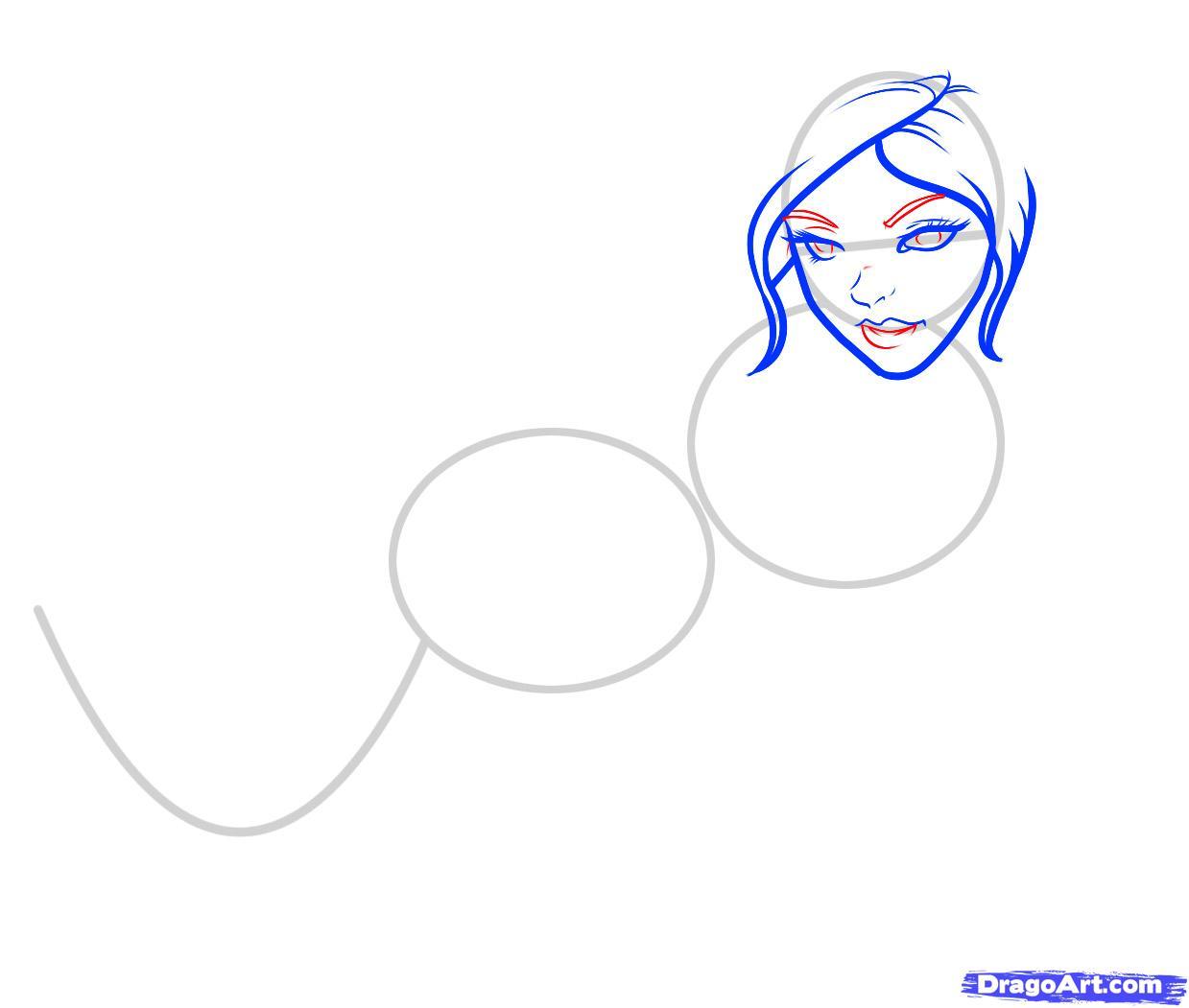 Рисуем русалку  для начинающих - шаг 4
