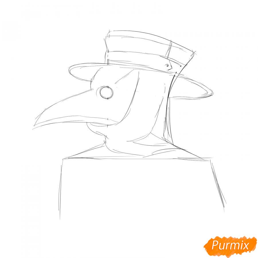 Рисуем чумного доктора - шаг 3