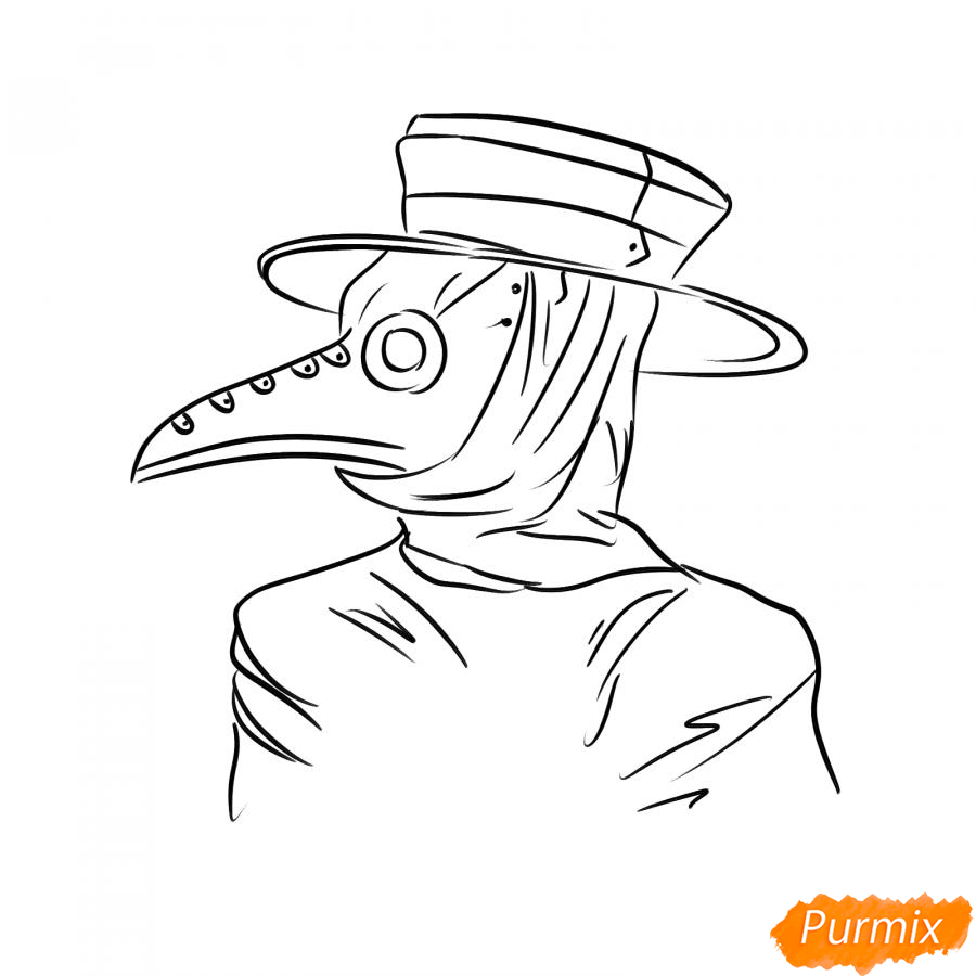 Рисуем чумного доктора - шаг 6