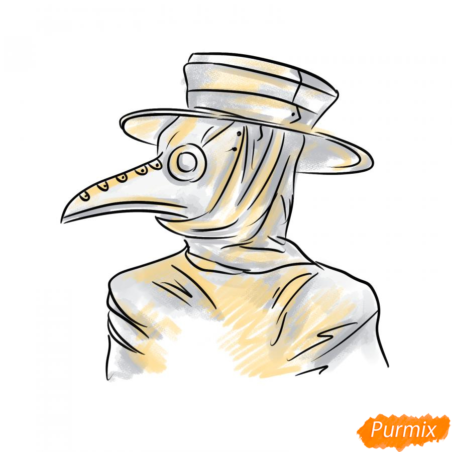 Рисуем чумного доктора - шаг 8