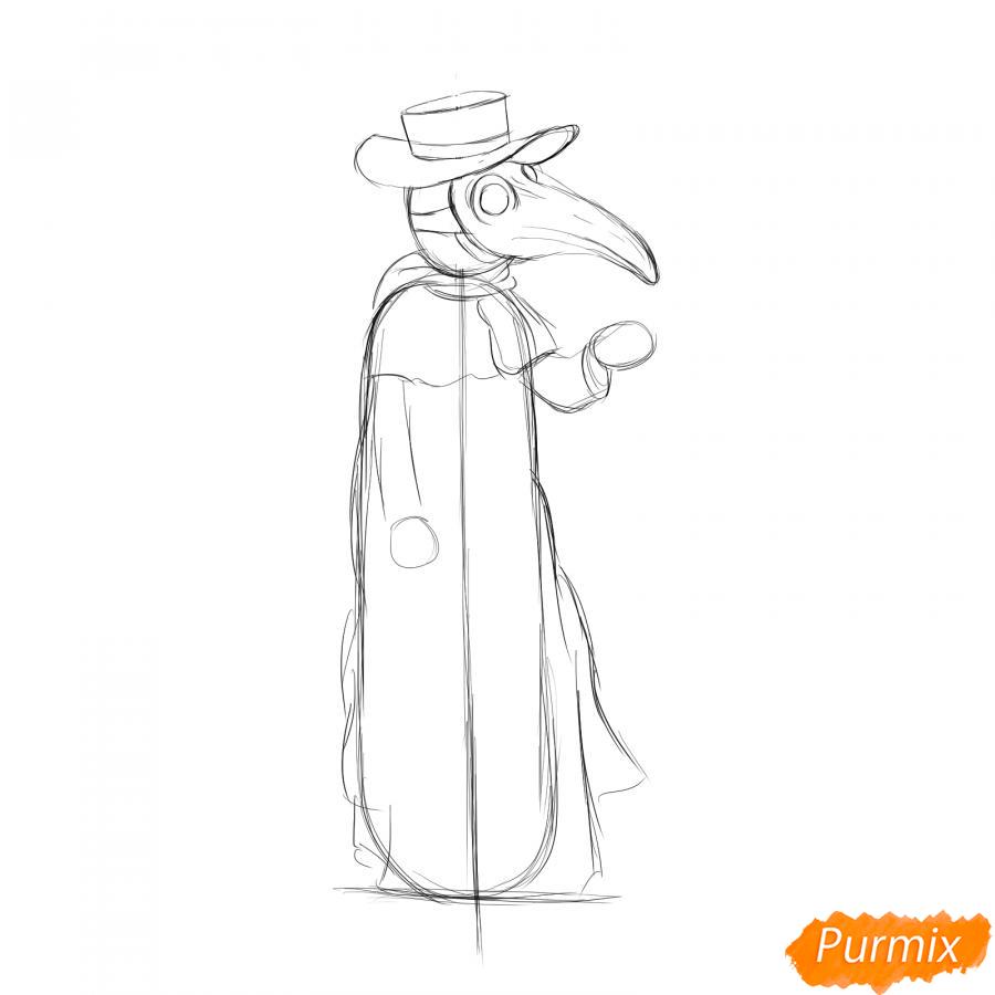 Рисуем Чумного Доктора - шаг 4