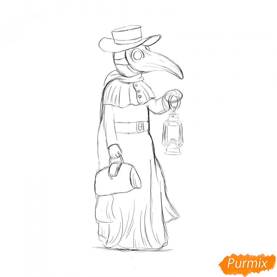 Рисуем Чумного Доктора - шаг 5