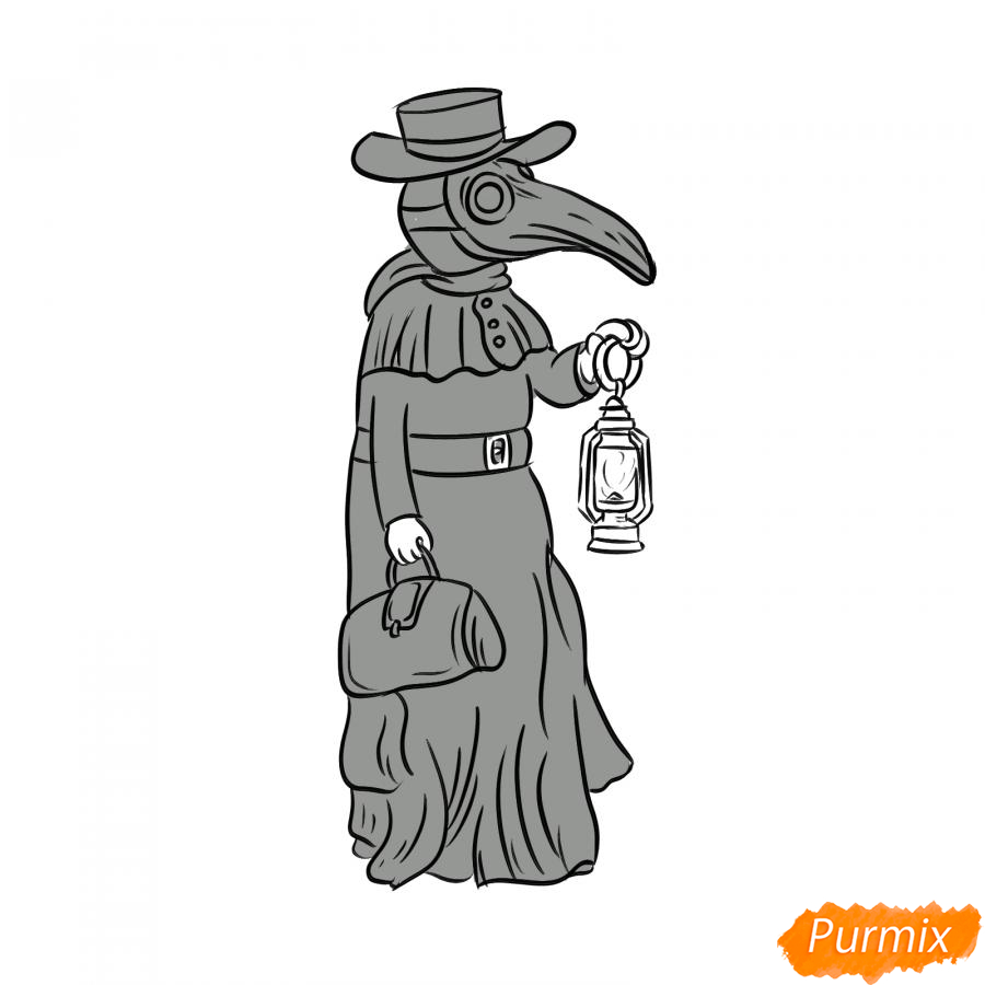 Рисуем Чумного Доктора - шаг 7