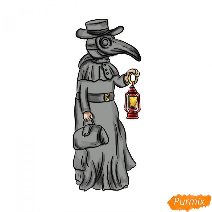 Рисуем Чумного Доктора - шаг 9