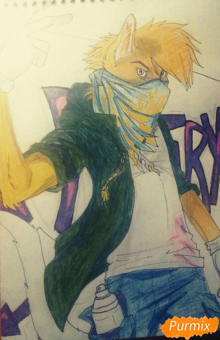 Рисуем и раскрасить фурри парня карандашами - шаг 13