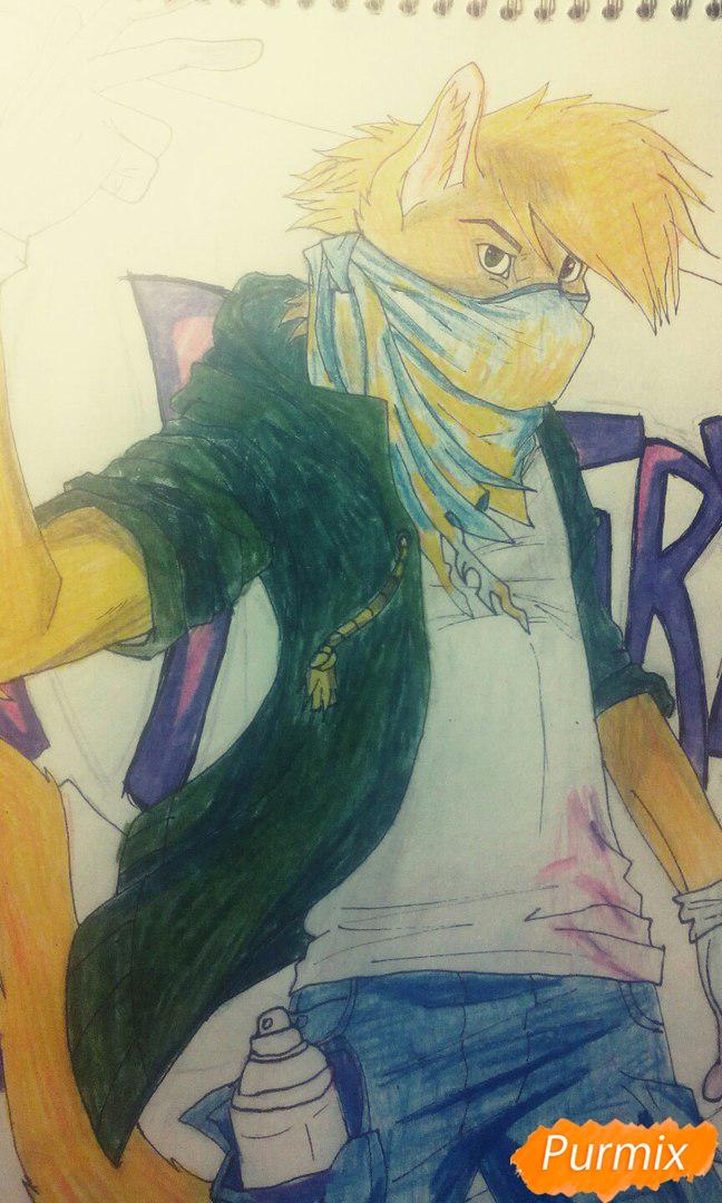 Рисуем и раскрасить фурри парня карандашами - шаг 14