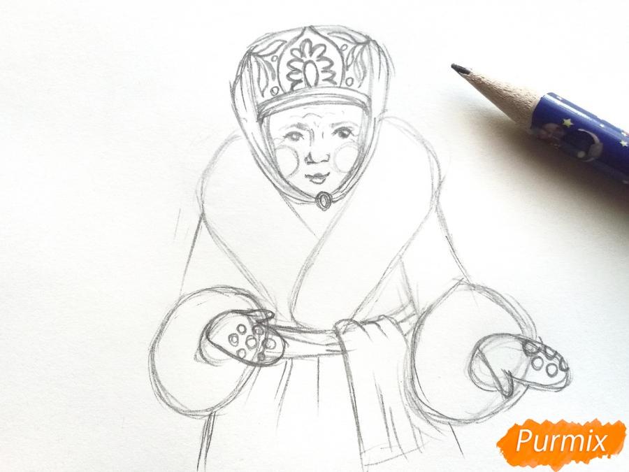 Рисуем матушку зиму - шаг 4