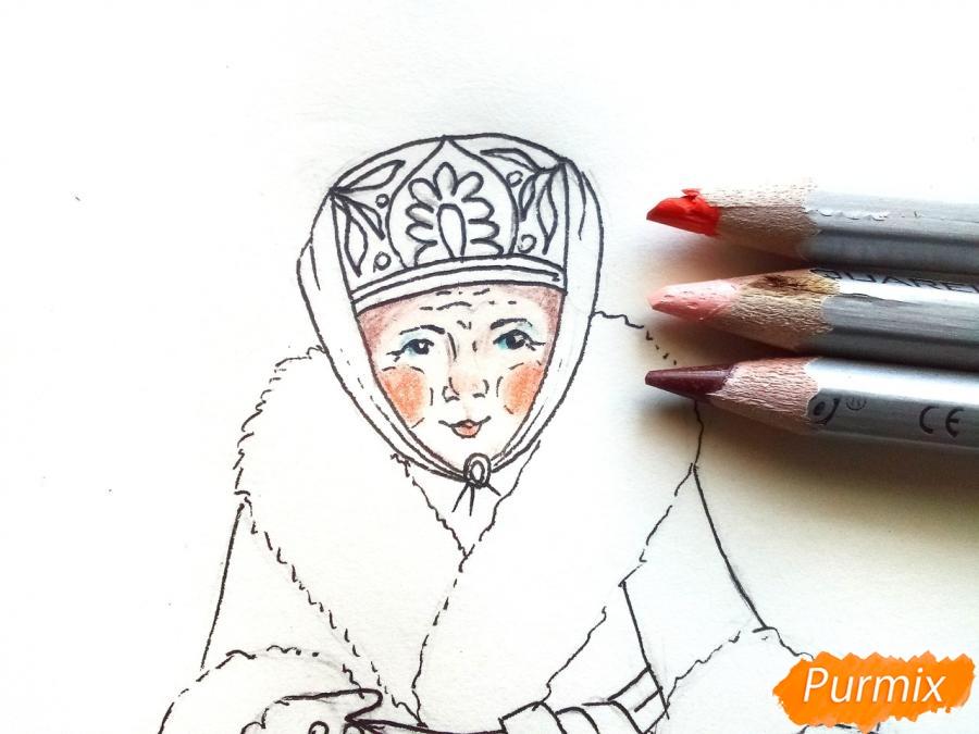 Рисуем матушку зиму - шаг 6