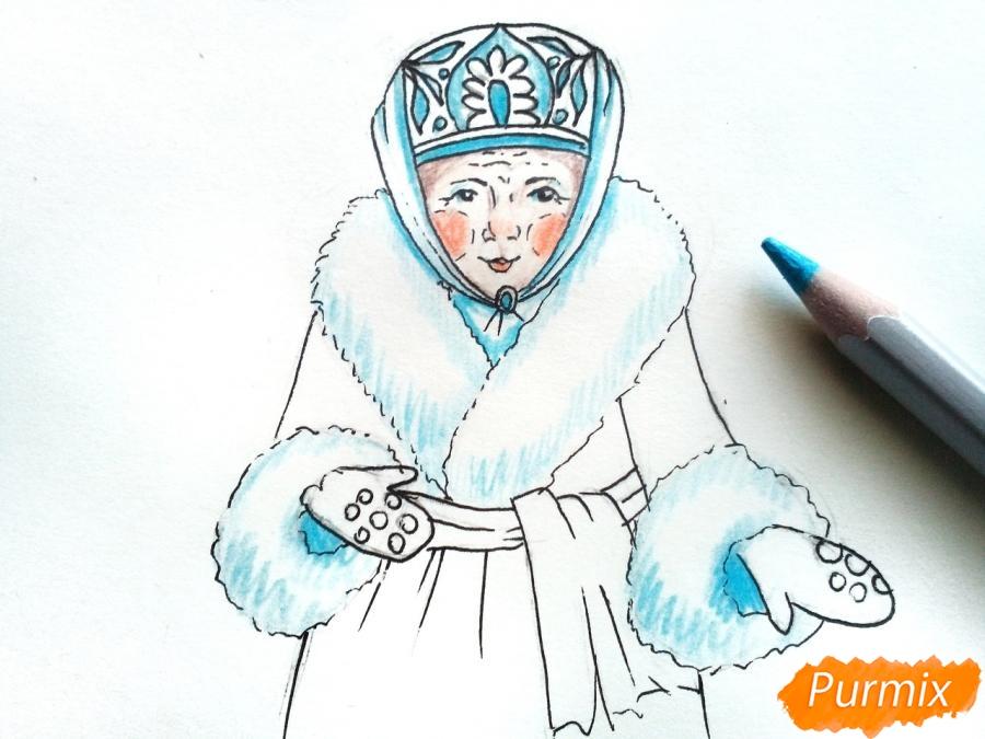 Рисуем матушку зиму - шаг 7