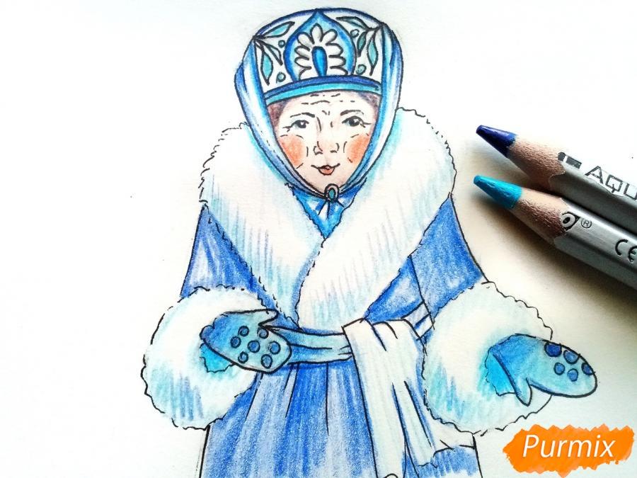 Рисуем матушку зиму - шаг 8