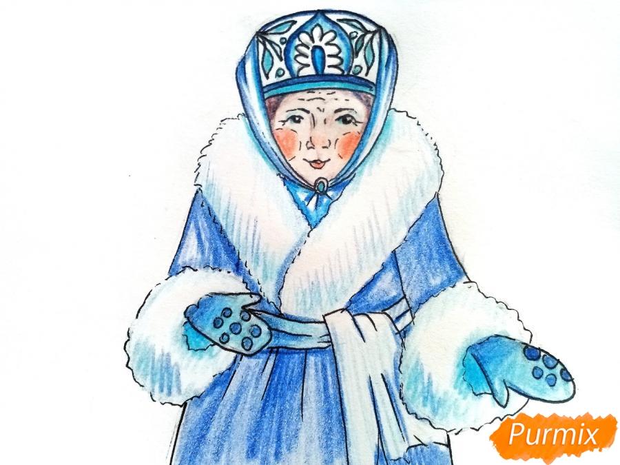 Рисуем матушку зиму - шаг 9