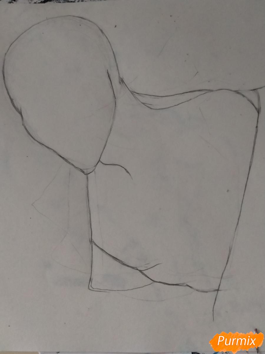 Рисуем Оффендермена карандашами - шаг 2