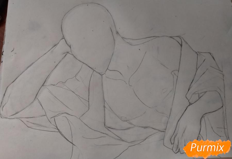 Рисуем Оффендермена карандашами - шаг 6