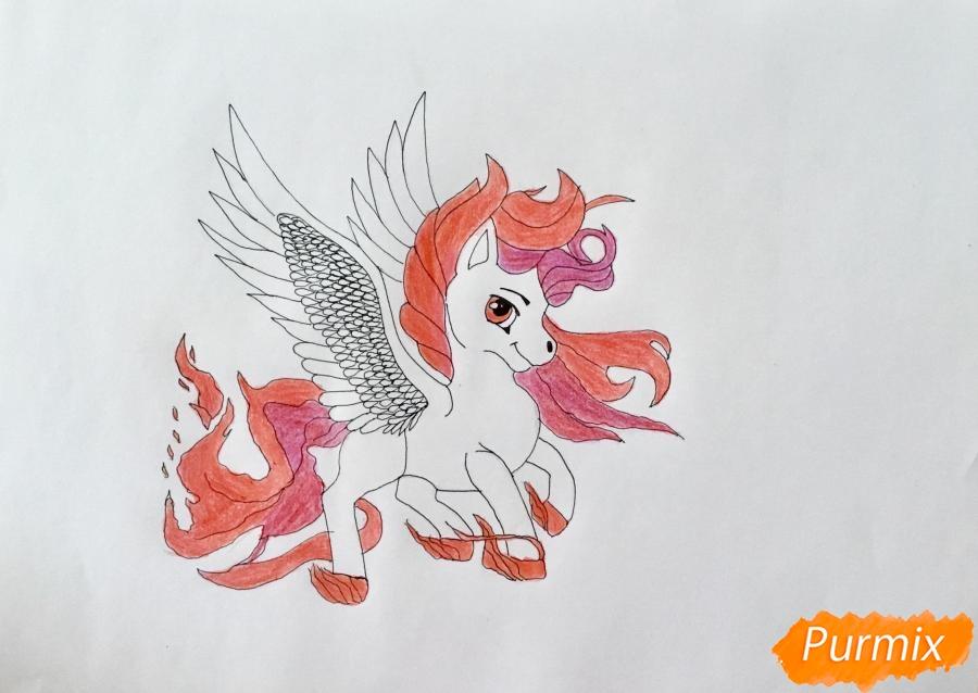 Рисуем огненного пони с крыльями - шаг 7