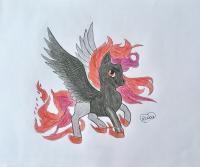 огненного пони с крыльями карандашом