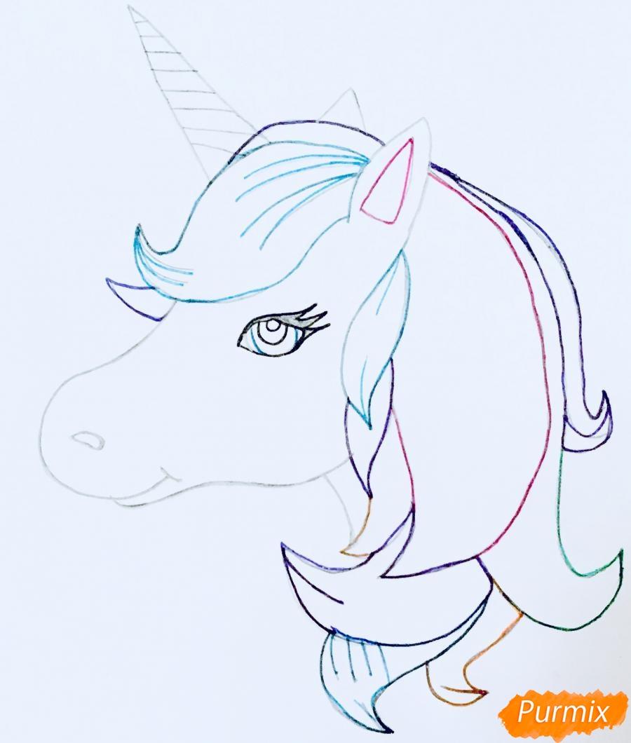Рисуем портрет милого единорога - шаг 11