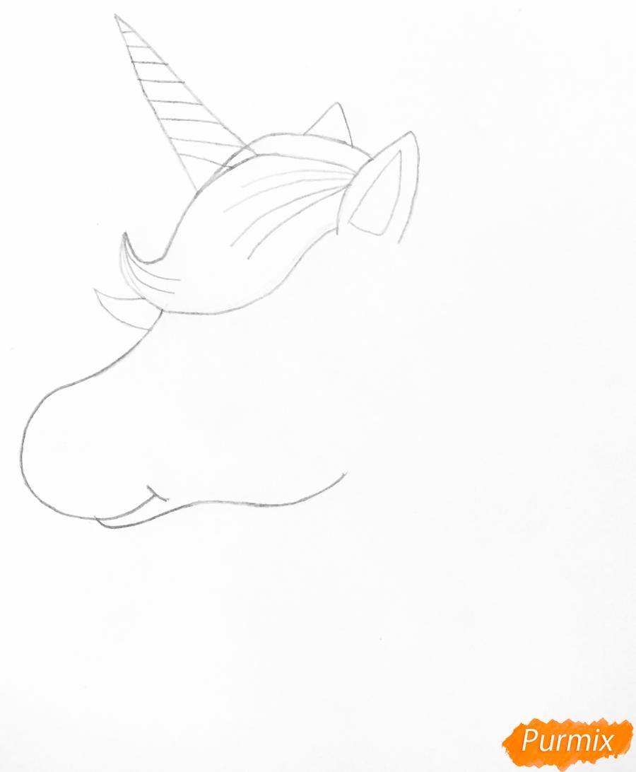 Рисуем портрет милого единорога - шаг 3