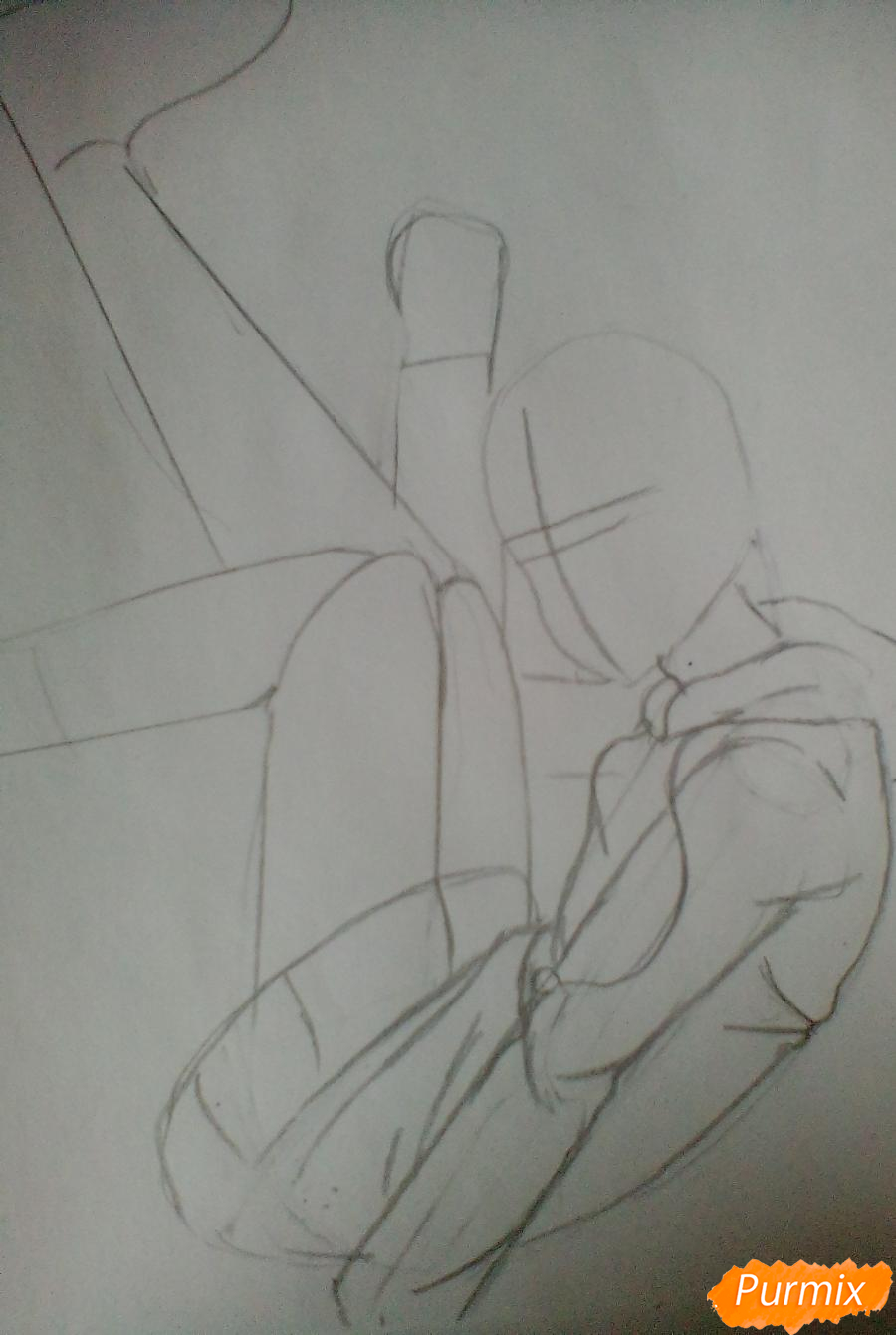 Рисуем Тикки Тоби из Крипипасты карандашами - шаг 2