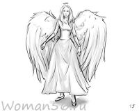 девушку-ангела карандашом