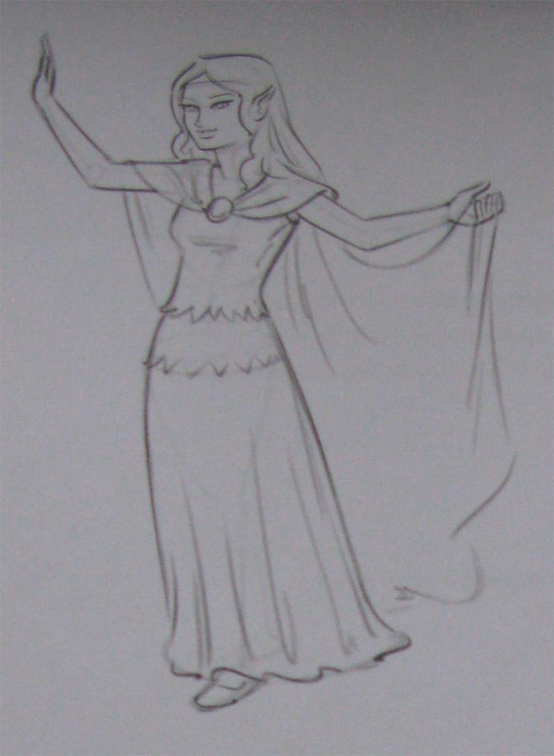 Рисуем девушку эльфа - шаг 3