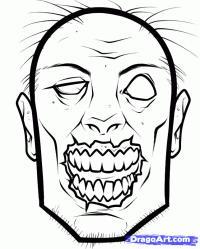 голову зомби карандашом