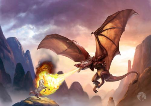 Рисуем огнедышащего дракон на бумаге
