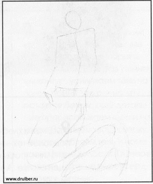 Учимся рисовать русалку простым - шаг 1