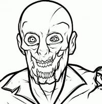 страшного зомби на бумаге карандашом