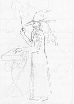 Рисуем Волшебника с волшебной палочкой и книгой