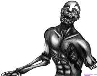 зомби без руки карандашом
