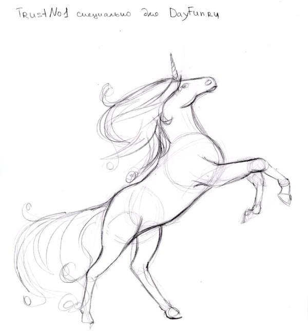 Рисуем единорога карандашами - шаг 4