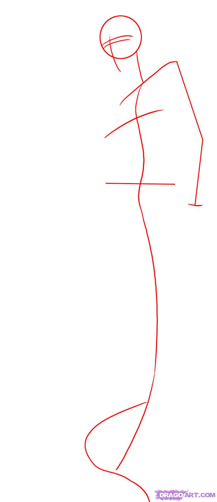 Рисуем русалку в полный рост - шаг 1